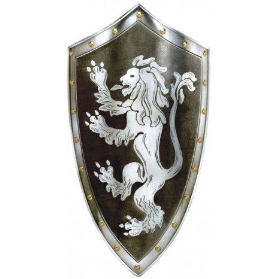 Escudo León medieval, acero pintado en color negro con dibujo de león en color plata.