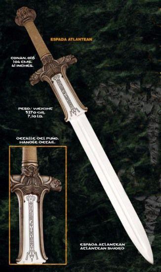 Espada  Atlantean de la película Conan el Bárbaro, terminaciones en bronce y plata