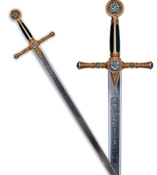 Espada Masonica Oro, con grabado profundo en la hoja y acabados en color azul