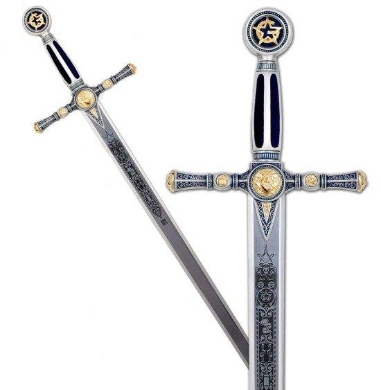 Espada Masonica Plata, con grabado profundo en la hoja y acabados en color azul
