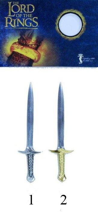 Espada mini del señor de los anillos, replica de la espada Sting de Frodo