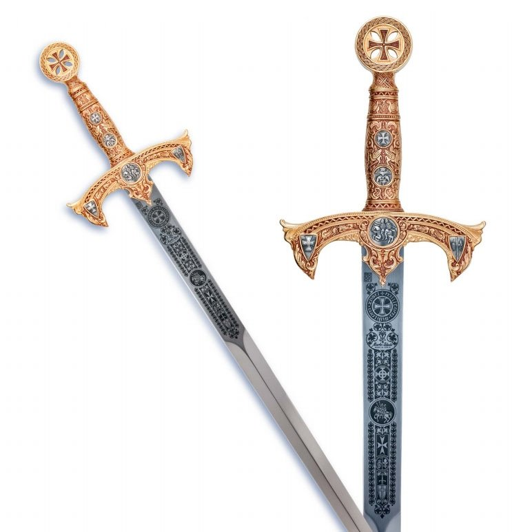 Espada templaria terminación grabado profundo oro con cruz roja