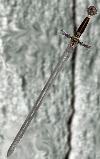 Espada Templaria Damasquinada, espada de la orden de los caballeros templarios.