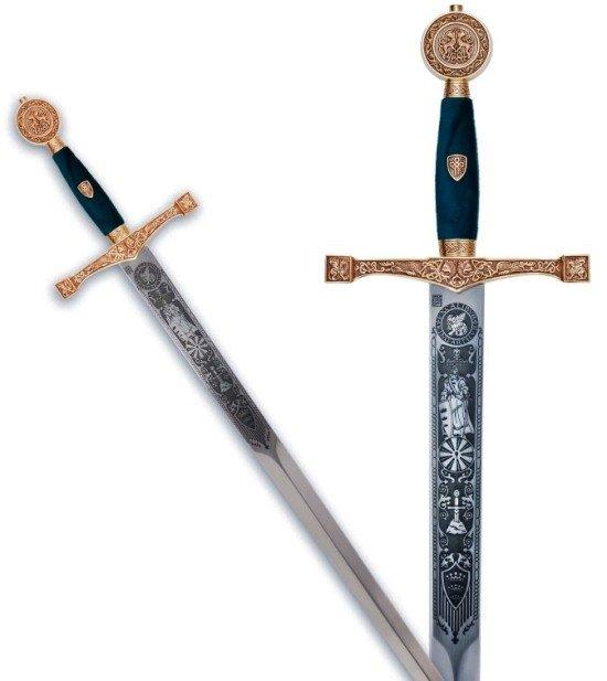 Espada Excalibur oro con grabados profundos, empuñadura en detalles oro y azul