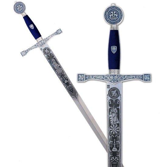 Espada Excalibur plata con grabados profundos, empu�adura en detalles  azul