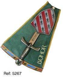 Mini espada con mini escudo de Bohor, de la serie de los caballeros de la mesa redonda