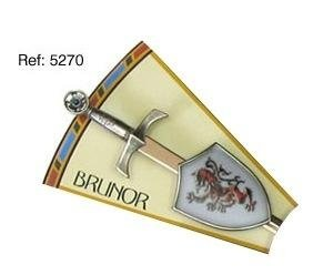 Mini espada con mini escudo de Brunor, de la serie de los caballeros de la mesa redonda