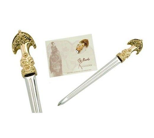 Mini espada Darius, en acabados  oro, plata y bronce. De la saga Alejandro Magno