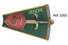 Mini espada con mini escudo de Degore, de la serie de los caballeros de la mesa redonda