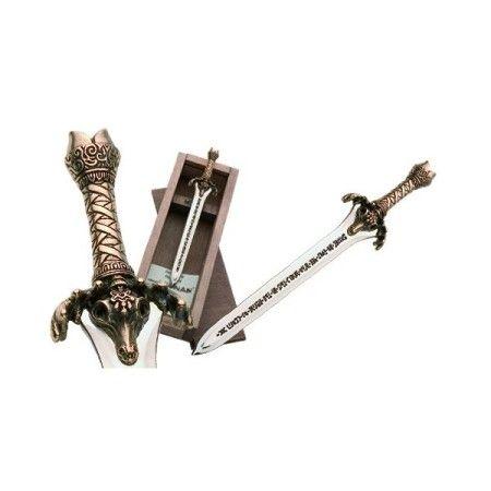 Mini espada del Padre de la película de Conan, en acabados oro, plata y bronce.