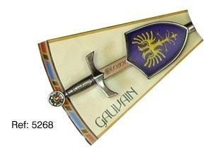 Mini espada con mini escudo de Gawain, de la serie de los caballeros de la mesa redonda