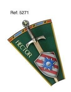 Mini espada con mini escudo de Hector, de la serie de los caballeros de la mesa redonda
