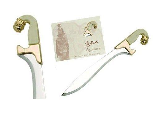 Mini espada Leonatus, en acabados  oro, plata y bronce. De la saga Alejandro Magno