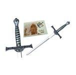 Mini espada Macleod, de la saga de los inmortales. Acabados  en plata, bronce y oro