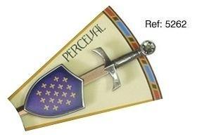 Mini espada con mini escudo de Percebal, de la serie de los caballeros de la mesa redonda