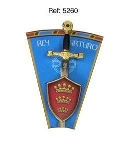 Mini espada con mini escudo Rey Arturo, de la serie de los caballeros de la mesa redonda