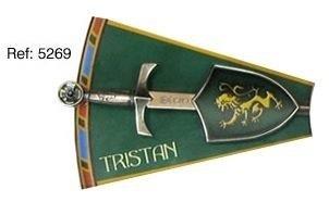 Mini espada con mini escudo de Tristan, de la serie de los caballeros de la mesa redonda