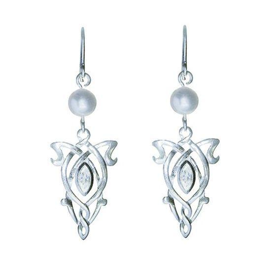 Pendientes simple de Arwen Estrella de la Tarde, bañado en plata y con cristales.
