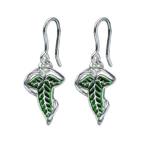 Pendientes hoja Lothlorien, en acabados de plata y esmalta verde
