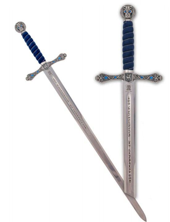 Espada Principe Negro, en acabado plata, con empuñadura y detalles en azul
