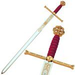 Espada reyes católicos damasquinada, con detalles en la empuñadura