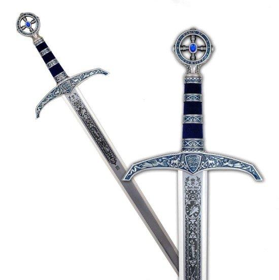 Espada Robin Hood en plata, acabados en color azul. Grabados profundos en la hoja.