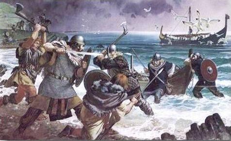 Vikingos luchando con espadas y hachas