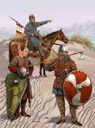 Guerreros vikingos portando sus armas características como la espada vikinga