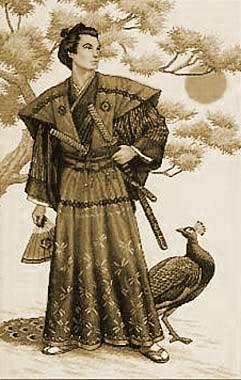 Guerrero japonés con espadas
