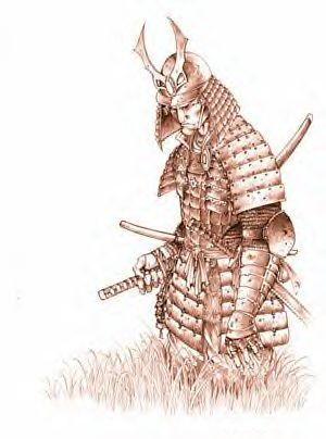 Samurái con Katana colgada en el cinto