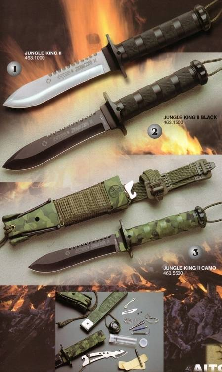 AITOR KNIFE JUNGLE KING II BLACK, AITOR KNIFE KNIFE JUNGLE KING II WHITE AND AITOR KNIFE JUNGLE KING II CAMO