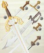 Daggers, sabers, historic swords, fantasy swords, armours, helmets, gauntlets, shields ...