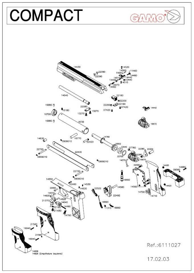 Pistola de aire comprimido Gamo Compact.