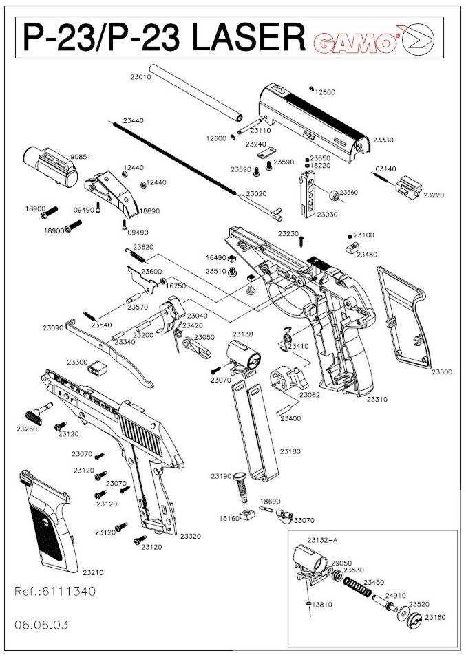 Pistola Gamo P-23 de aire comprimido.
