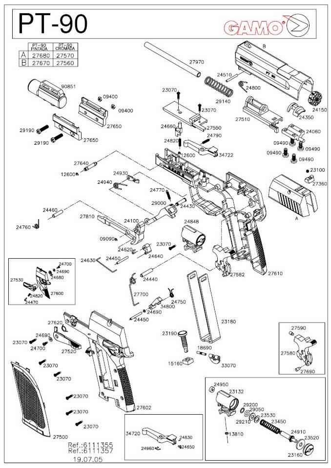 Pistola Gamo PT-90 de aire comprimido.