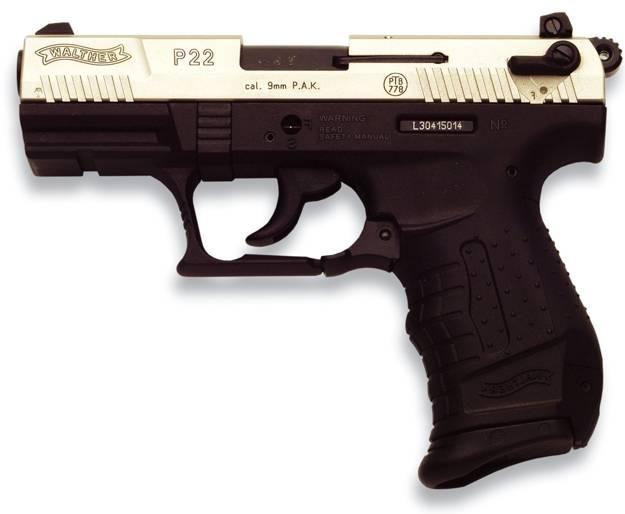 Pistola Walther P22 niquelada de gran seguridad
