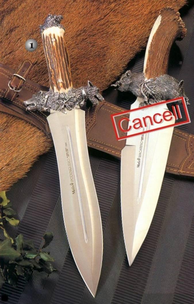 Cuchillo Muela podenquero, con guarniciones de plata de ley