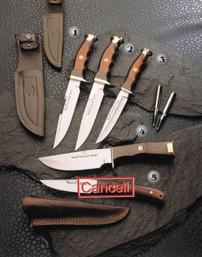 Cuchillos Muela con el puño de madera y latón