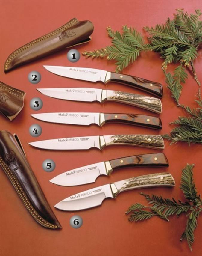 Cuchillos Muela con el mango de asta de ciervo y madera roja