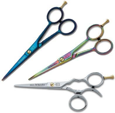 Tijeras de peluquería variadas 3 claveles, de diferentes colores