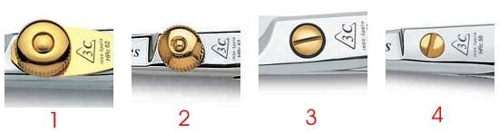 Diferentes tipos de tornillos de tijeras tres claveles