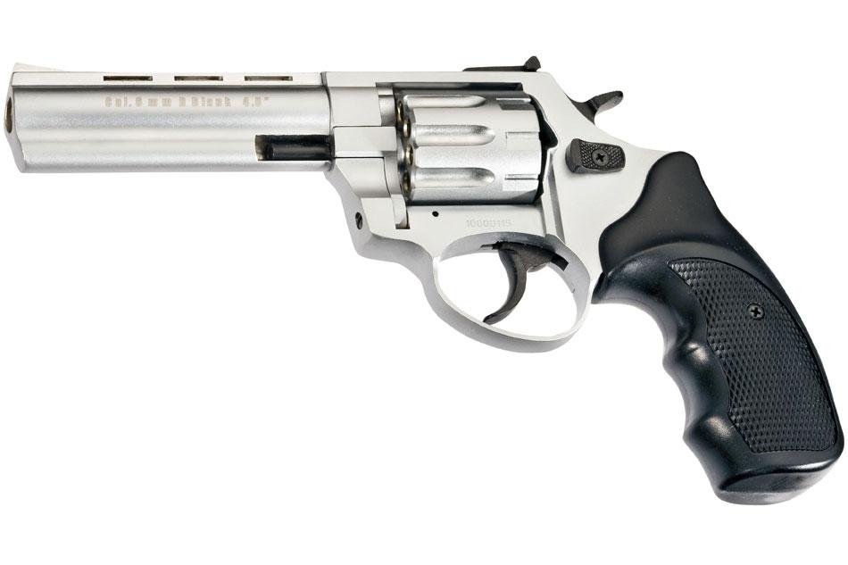 Revólver detonador Zoraki R1 4.5 pulgadas del calibre 380/9mm de color mate cromo