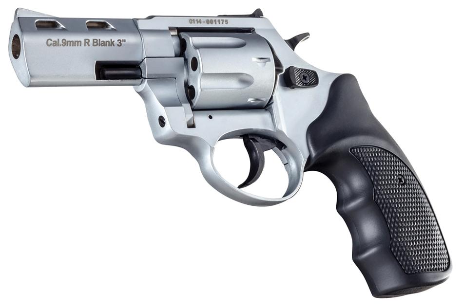 R2 3 inch 380/9mm matte chrome Zoraki firing revolver MEZ25