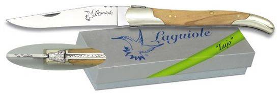 Pocket knife LAGUIOLE Nickel silver/Olive 9.5 cm