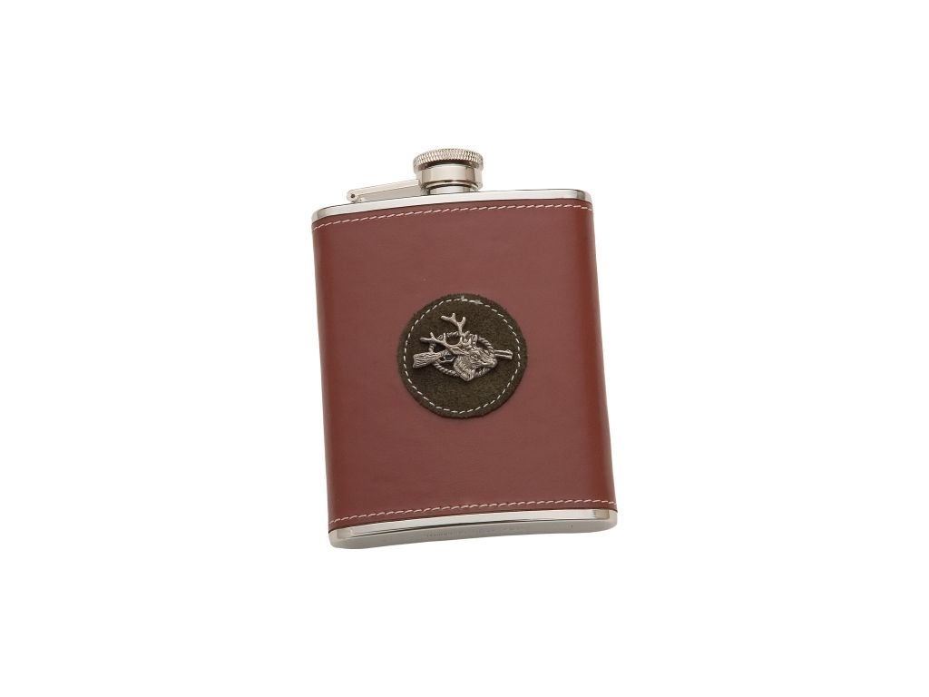 SHEATHED WITH BROWN LEATHER 6 OZ STAINLESS STEEL FLASK