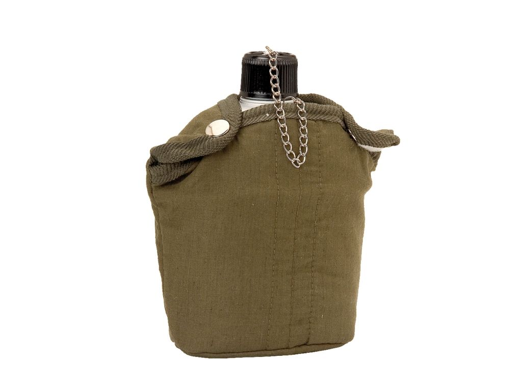 1L ALUMINIUM CANTEEN SHEATHED WITH GREEN FABRIK
