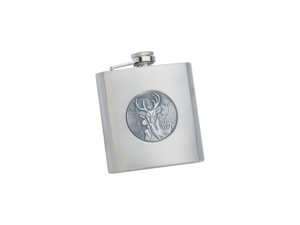 STAINLESS STEEL 6 OZ FLASK WITH DEER MOTIF
