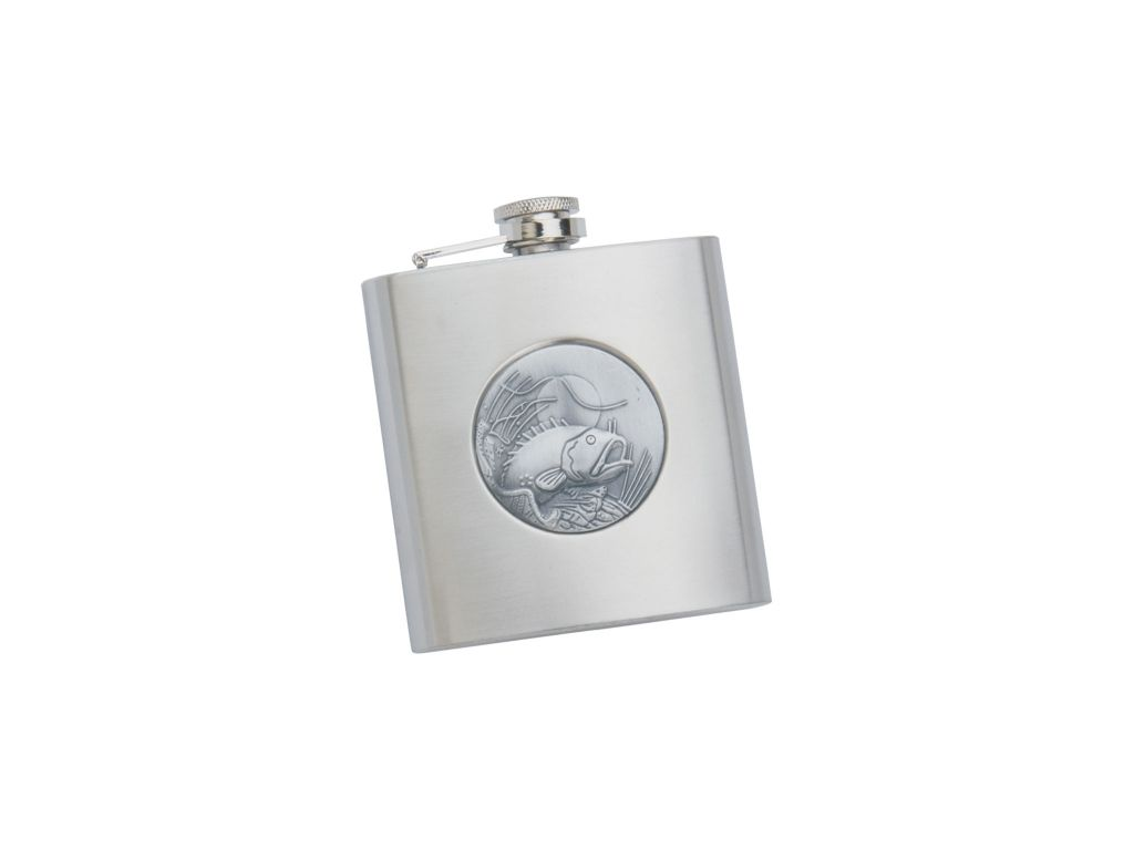 STAINLESS STEEL 6 OZ FLASK WITH FISH MOTIF