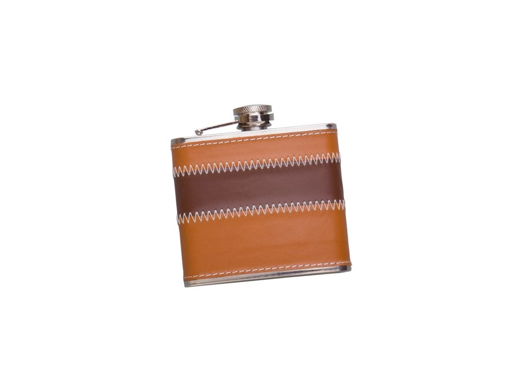 SHEATED WITH BROWN LEATHER 5 OZ STAINLESS STEEL FLASK