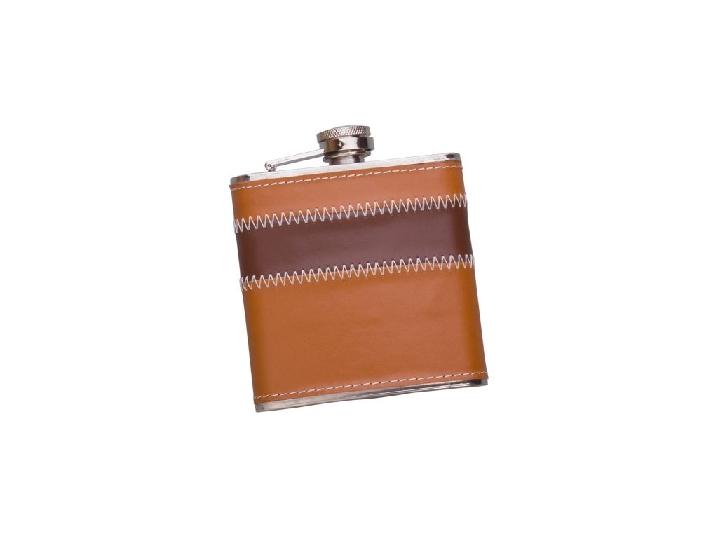 SHEATED WITH BROWN LEATHER 6 OZ STAINLESS STEEL FLASK